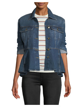 Button Front Flounce Denim Jacket by Frame