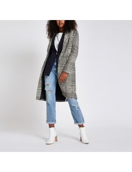 Navy Check Single Breasted Longline Coat by River Island