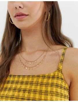 "Asos Design   Confezione Da 2 Collane Color Oro Con Slogan ""Honey Love Yourself"" by Asos"