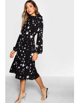 Tie Neck Star Print Midi Dress by Boohoo