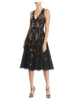Point D'esprit Sleeveless Midi Dress by Aidan Mattox