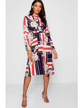 Wrap Front Floral Stripe Mix Midi Dress by Boohoo