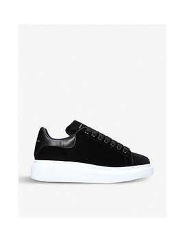 Show Velvet And Leather Platform Trainers by Alexander Mcqueen