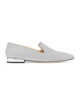 Jaida Glittered Leather Loafers by Jimmy Choo