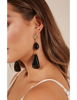 The Lone Wolf Earrings In Black And Gold by Showpo Fashion
