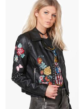 Nicole Boutique Embroidered Biker Jacket by Boohoo
