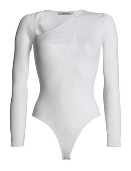 Vivian Asymmetric Ribbed Knit Bodysuit by Cushnie Et Ochs