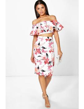 Una Floral Off The Shoulder Crop And Midi Skirt by Boohoo