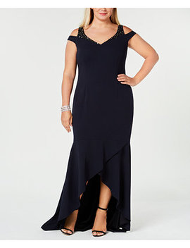 Plus Size Cold Shoulder Gown by Adrianna Papell
