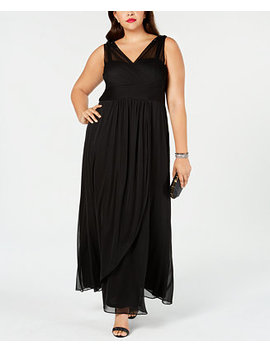 Plus Size Draped Embellished Gown by Adrianna Papell
