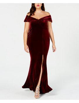 Plus Size Off The Shoulder Velvet Gown by Xscape