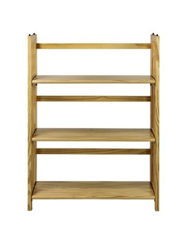 """Folding 38"""" 3 Tier Bookshelf (Stackable)   Natural by Flora Home"""