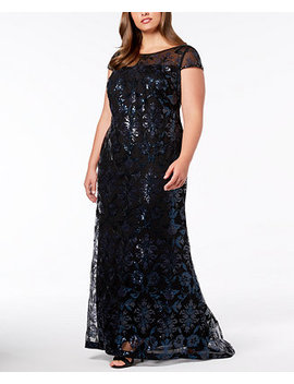 Plus Size Sequined Mesh Gown by Calvin Klein