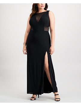 Plus Size Illusion Slit Gown by Betsy & Adam