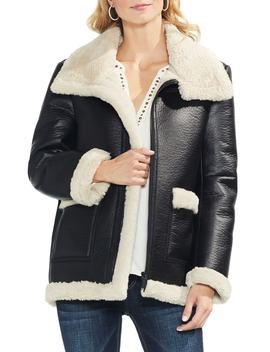 Faux Leather Shearling Coat by Vince Camuto