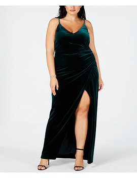 Plus Size Velvet Faux Wrap Gown by Betsy & Adam