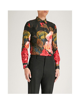 Rose Print Silk Twill Shirt by Alexander Mcqueen