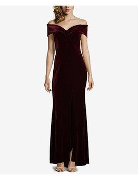 Petite Velvet Off The Shoulder Gown by Xscape