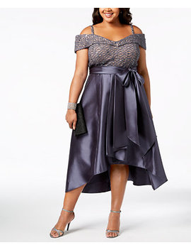 Plus Size Sequined Lace & Satin High Low Gown by R & M Richards