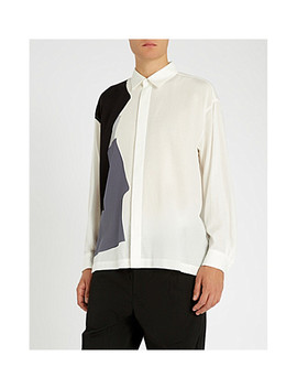Contrast Panel Oversized Woven Shirt by Issey Miyake