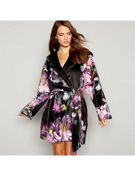 B By Ted Baker   Black Floral Print 'sunlit' Dressing Gown by B By Ted Baker