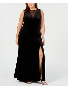 Plus Size Illusion Velvet Dress by Nightway