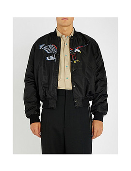 Family Eagle Embroidered Woven Bomber Jacket by Sss World Corp