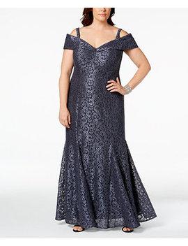 Plus Size Off The Shoulder Lace Gown by R & M Richards