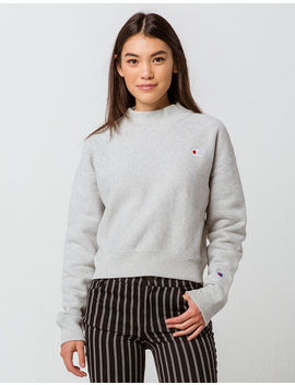 Champion Reverse Weave Mock Neck Heather Gray Womens Crop Sweatshirt by Champion