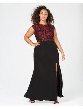 Trendy Plus Size Glitter Lace Dress by Morgan & Company