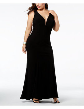 Plus Size Plunging Rhinestone Embellished Gown by Xscape