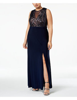 Plus Size Sequined Illusion Gown by Nightway