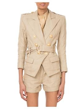 Double Breasted Belted Safari Blazer by Balmain