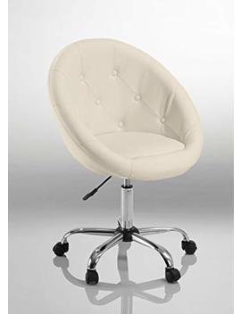 Desk Chair White Swivel Stool With Backrest Padded Height Adjustable Faux Leather Duhome 0532 by Duhome Elegant Lifestyle