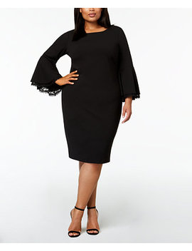Plus Size Lace Trim Bell Sleeve Dress by Calvin Klein