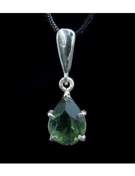 Sinope Czech Moldavite Pendant Silver Jewelry Moldavit Green Tektite Meteorite Vltavin Daceted Jewellery Necklace Charm Sterling Original by Etsy