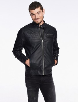 Leather Look Jacket With Stitching by Castro