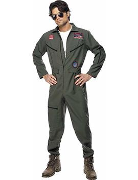 Smiffys Men's Top Gun Pilot Costume, Jumpsuit, Dog Tags & Sunglasses, Top Gun, Colour: Green, Size: M, 36287 by Smiffy's