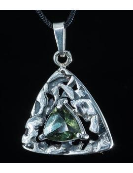 Triton Czech Moldavite Silver Pendant Faceted Moldavites Jewelry Sterling Vltavin Necklace Jewel Tektite Green Glass Gem Gemstone Hand Made by Etsy