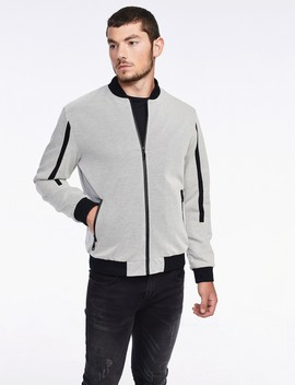 Piqu? Bomber Jacket With Side Stripes by Castro