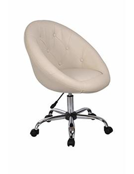Duhome Elegant Lifestyle Swivel Chair On Casters Cream Desk Chair Height Adjustable Swivel Stool With Wheels And Backrest Faux Leather Colour Selection Wy 509 B by Duhome Elegant Lifestyle
