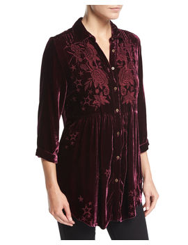 Roberta Velvet Smocked Blouse by Johnny Was