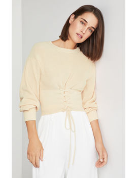 Lace Up Crop Sweater by Bcbgmaxazria