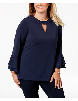 Plus Size Keyhole Crepe Top, Created For Macy's by Charter Club
