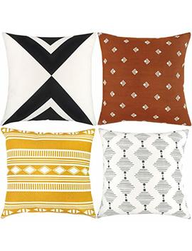 Woven Nook Decorative Throw Pillow Covers Only For Couch, Sofa, Or Bed Set Of 4 18 X 18 Inch Modern Quality Design 100 Percents Cotton Orange Yellow Black White Indy by Woven Nook