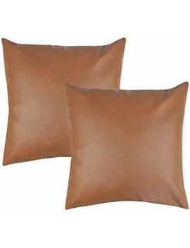 Woven Nook Decorative Throw Pillow Covers Only For Couch, Sofa, Or Bed Set Of 2 18 X 18 Inch Modern Quality Design 100 Percents Faux Leather Milo by Woven Nook