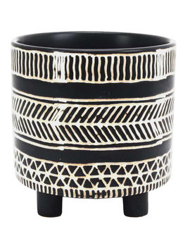 Ceramic Black Pot White Lines 6 In. by At Home