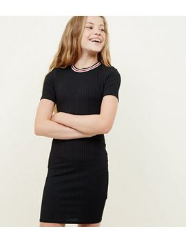 Girls Black Ribbed Stripe Neck Bodycon Dress by New Look