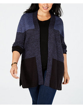 Plus Size Colorblock Cardigan, Created For Macy's by Karen Scott