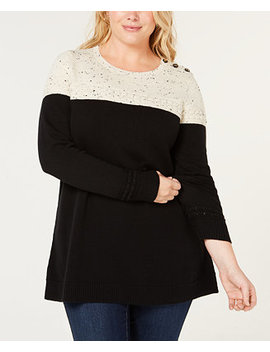 Plus Size Colorblocked Sweater, Created For Macy's by Charter Club